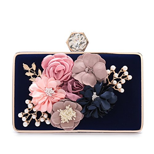 Women's Elegant Satin Evening Clutch Bags Rhinestone Pearl Beaded Evening Handbag With Handmade Flower For Prom Party(Blue)