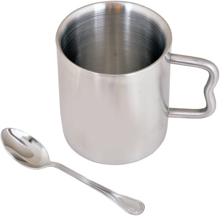 Double Walled Stainless Steel CoffeeTea Cup and Saucer, 250 ml
