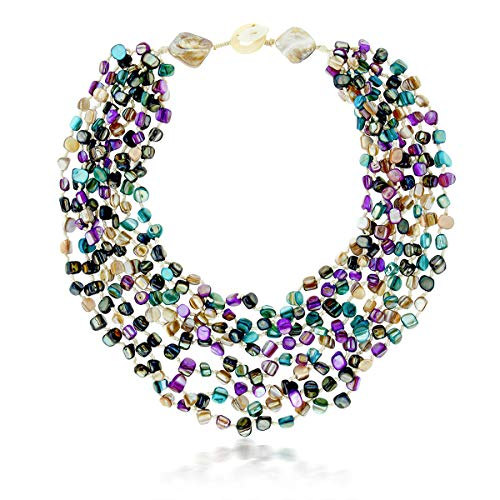 Gem Stone King 20 Inch MultiColor Simulated Shell Pearls Multi-Strand Twist Necklace (Silver Pearl Freshwater Sterling Mounting)