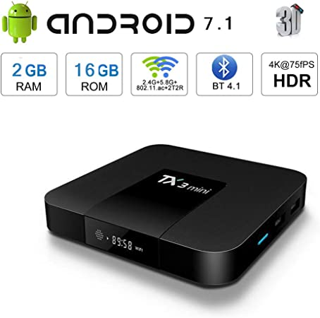 WFGZQ Android 7.1 TV Box, 4K HD Smart TV Box 2GB RAM 16B ROM Y WiFi Bluetooth 4.0 2.4Ghz, Reproductor Multimedia: Amazon.es: Hogar