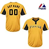 2-Button Cool-Base Pittsburgh Pirates 2-Color Yellow/Black Blank or CUSTOM Back (Name/#) MLB Officially Licensed Baseball Placket Jersey