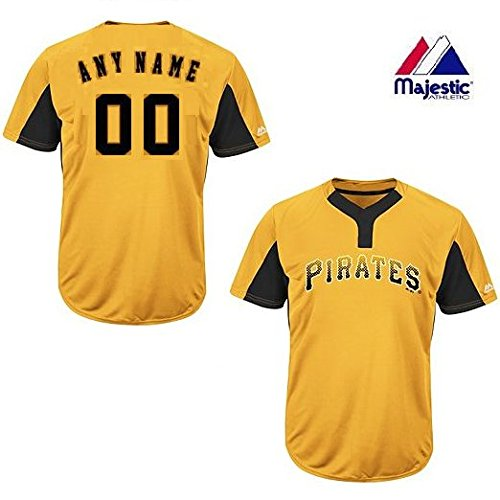 2-Button Cool-Base Pittsburgh Pirates 2-Color Yellow/Black Blank or CUSTOM Back (Identify/#) MLB Officially Licensed Baseball Placket Jersey – DiZiSports Store