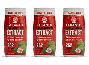 Lakanto Liquid Monkfruit Sweetener | Zero Calories | Original Flavor Pack Of 3