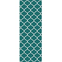 RUGGABLE Moroccan Trellis Teal Washable Indoor/Outdoor Stain Resistant 2.5x7 (30x84) Runner Rug 2pc Set (Cover Pad)