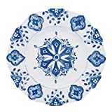 Le Cadeaux Moroccan Blue Melamine Dinner Plates - Set of 4