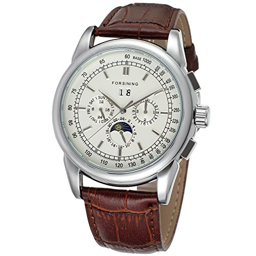 Forsining Men's Fantastic Automatic Luxury Brand Brown Genuine Leather Strap Analog Moon Phase Watch FSG319M3S2