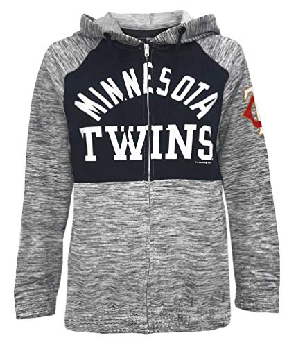 New Era Women MLB Minnesota Twins Full Zip Hoodie Sweatshirt Pockets 78085L (S) Navy/White