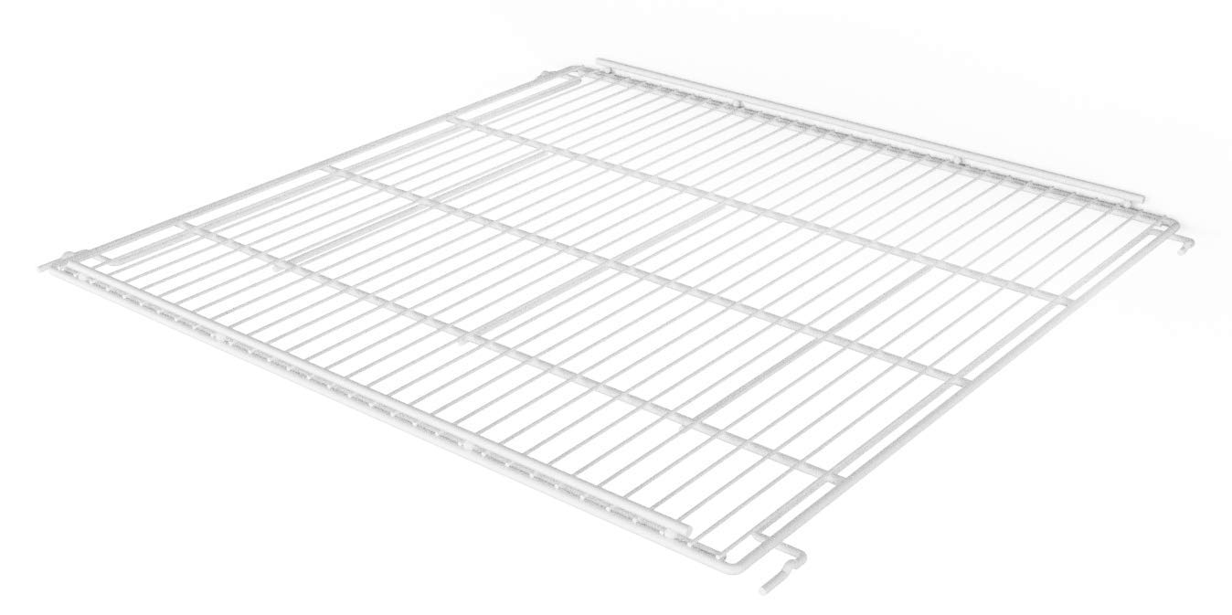 """KSR 30"""" x 27"""" Commercial Refrigeration Wire Shelf for Behind Glass Door Shelving System, Includes Price Tag Molding; Multi Position, Powder Coated, and NSF Approved (White)"""