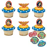 Wonder Woman Amazing Amazon Cupcake Toppers and Bonus Birthday Ring - 25 piece