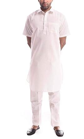254fff49 Royal Kurta Mens Linen Half Sleeved Pathani Suit Set: Amazon.in: Clothing &  Accessories