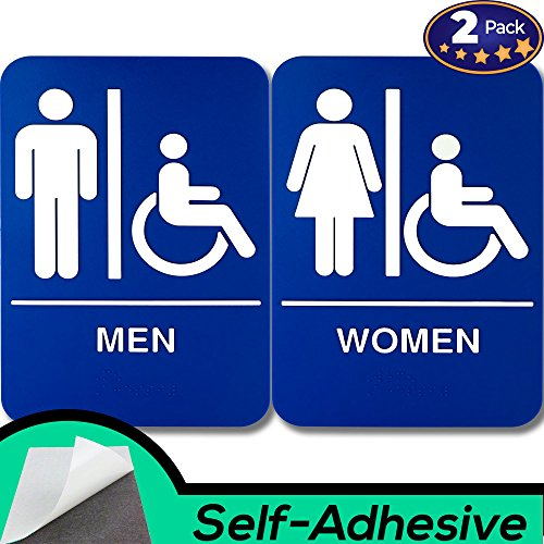 ADA Mens and Womens Restroom Braille 9 in x 6 in Signs With Braille Lettering By Retail Genius. Durable Plastic Placards Display Bathroom Location and Gender. Self-Adhesive Backing For Easy Install by Retail Genius