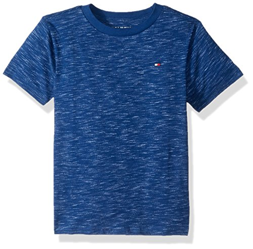 Tommy Hilfiger Big Boys' Short Sleeve Solid Crew-Neck T-Shirt, Foster Blue, - Tee Solid Neck Crew