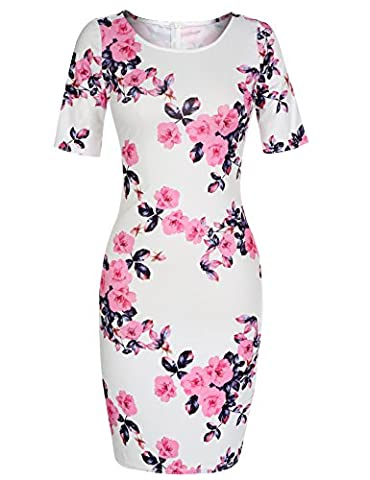 Beyove Women's Sexy Evening Cocktail Party Bodycon Dress Flower Print Pencil Dress (Pink S) (Fitted Jacket Juniors)