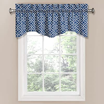 Waverly 12459050X016IND Lovely Lattice 50-Inch by 16-Inch Window Valance, Indigo - Coordinating curtain panel sold separately 3-inch rod pocket with 2-inch header Unlined, easy care machine wash - living-room-soft-furnishings, living-room, draperies-curtains-shades - 51ZKBn%2BicRL. SS400  -