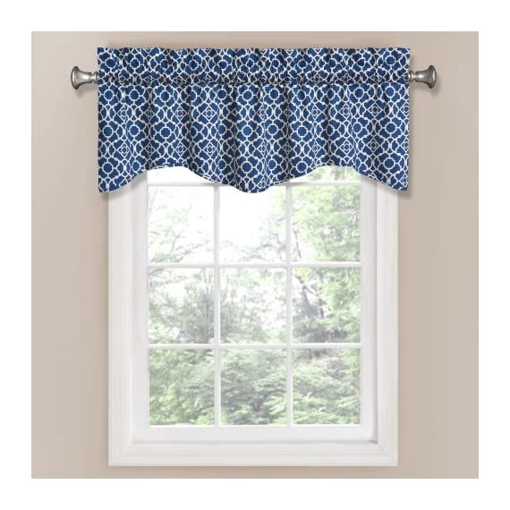 Waverly 12459050X016IND Lovely Lattice 50-Inch by 16-Inch Window Valance, Indigo - Coordinating curtain panel sold separately 3-inch rod pocket with 2-inch header Unlined, easy care machine wash - living-room-soft-furnishings, living-room, draperies-curtains-shades - 51ZKBn%2BicRL. SS570  -