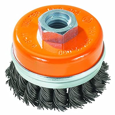 "Walter 13G604 Knot Twisted Wire Cup Brush with Ring, Threaded Hole, Carbon Steel, 6"" Diameter, 0.020"" Wire Diameter, 5/8""-11 Arbor, 6800 Maximum RPM"