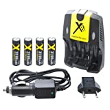 Xit XTCRCH3100 Rapid AA/AAA Battery Charger AC/DC 3100mAh with 4 AA Batteries, Black