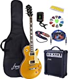 Full Size Electric Guitar with Amp, Case and Accessories Pack (Golden Top)
