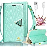 Galaxy S3 Case,Vandot 3in1 Set Shining Diamond PU Leather Flip Folio Stand Magnetic Closure Wallet Case [Card Slots] [Detachable Wrist Strap] Skin Cover for Samsung Galaxy S3 I9300+Rhinestone Imperial Crown Anti Dust Plug+USB Data Cable -Green