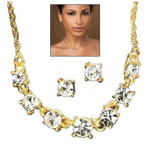Sparkling Crystal Frontal Necklace Giftset(goldtone)