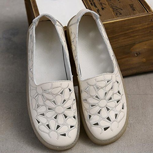 Style2 On Round Leather Loafers Women's Flat Shoes Minibee beige Toe New Slip Floral qPOw0x