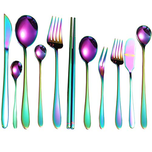 Glossy Rainbow Stainless Steel Tableware Set, 11 Pieces Flatware Set with Black Gift Box, Mirror Polished Utensil Set Serve for 1, Durable and Dishwasher Safe Cultery Set