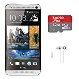 HTC ONE M7 32GB 4G LTE Android Smartphone (Unlocked/Silver) with 32 GB microSDHC Card and In-Ear Headphones