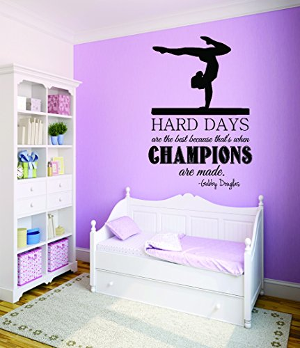 Design with Vinyl RAD 790 3 Hard Days Are The Best Because That's When Champions Are Made. - Gabby Douglas Ice Skating Girls Bedroom Quote Teen Design Wall Decal, Black, 20 x 30