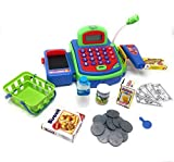 Pretend Play Electronic Toy Cash Register with Microphone and Play Money, Battery Operated, Includes Money, Scanner, Credit Card, Groceries with Basket, Great Children's Supermarket Checkout Toy