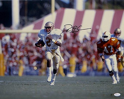 Deion Sanders Signed 16x20 FSU Seminoles Running Photo - JSA Authenticated -