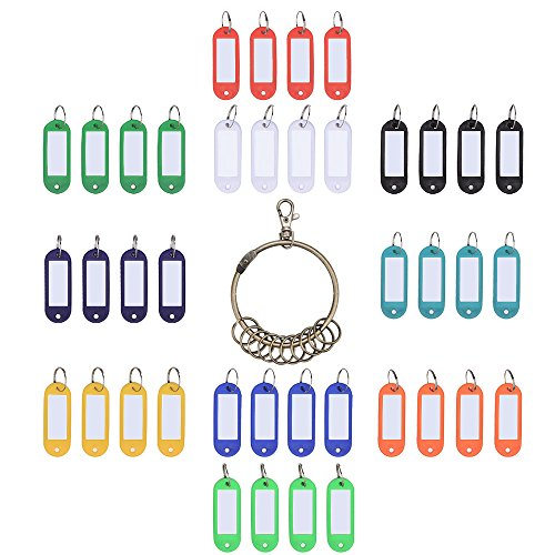 Outus Plastic Key Fob ID Tags Luggage ID Labels with Split Keyring 40 Pieces and Retro Keychain