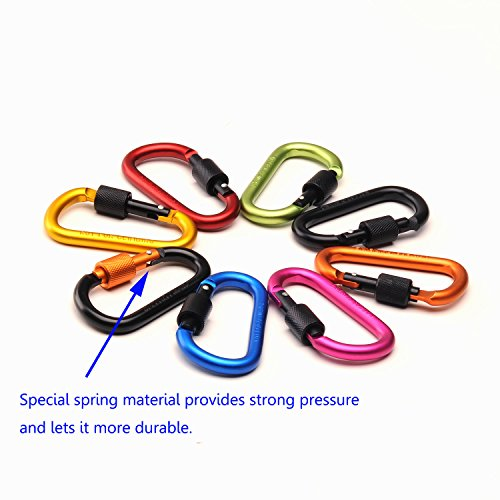 "4ucycling Aluminum Alloy Carabiner Screw Buckle Lock 3"" Durable Lightweight Pack of 6"