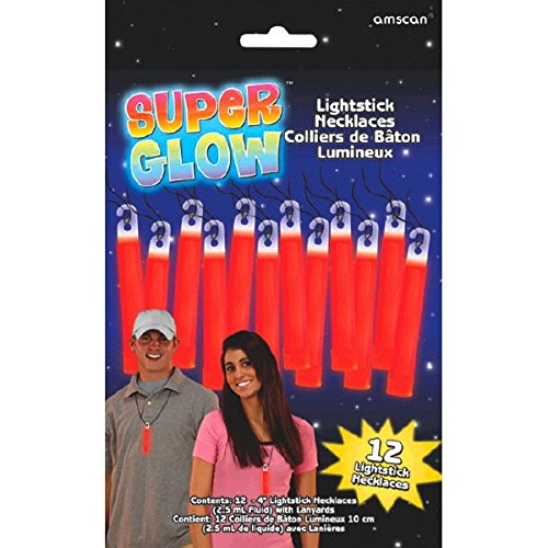Amscan Party Perfect Team Spirit Glow Stick Necklaces (12 Piece), Red, 8.3 x 5.3