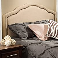 Modern Arch Upholstered Padded Beige Tan Linen Fabric Queen Headboard with Copper Nailheads Includes ModHaus Living (TM) Pen