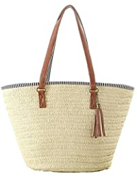 Women's Simple and Fashionable Tassel Tote One-Shoulder Straw Woven Shoulder Bag