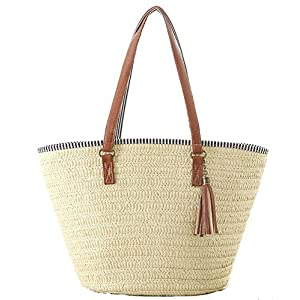 AGNETA Women's Simple and Fashionable Tassel Tote One-Shoulder Straw Woven Shoulder Bag