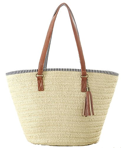 AGNETA Women's Simple and Fashionable Tassel Tote One-Shoulder Straw Woven Shoulder Bag (Beige)