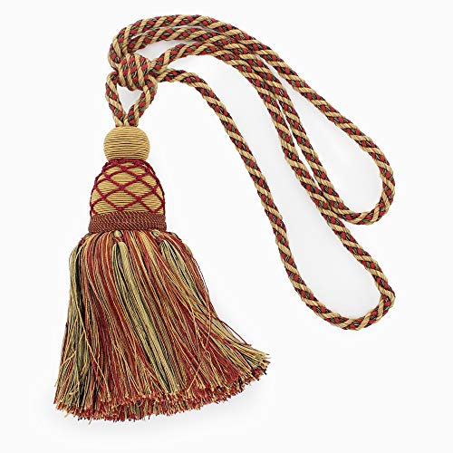 (DÉCOPRO Large Elegant |Cherry, Dark Rust, Artichoke|Curtain and Drapery Tassel Tieback|9 1/2
