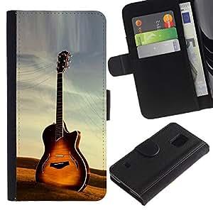 JackGot ( Chitarra ) Samsung Galaxy S5 V SM-G900 la tarjeta de Crédito Slots PU Funda de cuero Monedero caso cubierta de piel