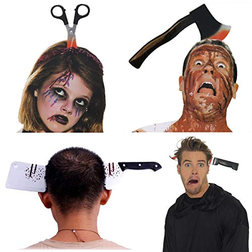 Halloween Costume Scary Weapon Headbands, 4 Packs Rubber Plastic Knife Axe Cleaver and Scissor Through Head, Zombie Accessories Makeup for Teen Girls Boys Men Women Adults Clearance