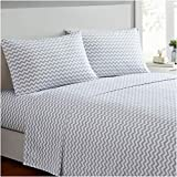 Mellanni Bed Sheet Set - Brushed Microfiber 1800 Bedding - Wrinkle, Fade, Stain Resistant - 4 Piece (King, Chevron Gray)