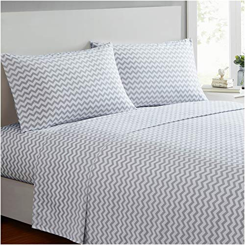 Mellanni Bed Sheet Set - Brushed Microfiber 1800 Bedding - Wrinkle, Fade, Stain Resistant - 4 Piece (Queen, Chevron Gray)