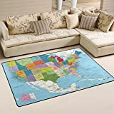 Naanle Educational Area Rug 3'x5', USA Political Road Map Polyester Area Rug Mat for Living Dining Dorm Room Bedroom Home Decorative