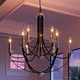Luxury Mid-Century Modern Chandelier, Large Size: 31.5''H x 32''W, with Colonial Style Elements, Silver Trimmed Design, High-End Black Silk Finish and Exposed Bulbs, UQL2012 by Urban Ambiance
