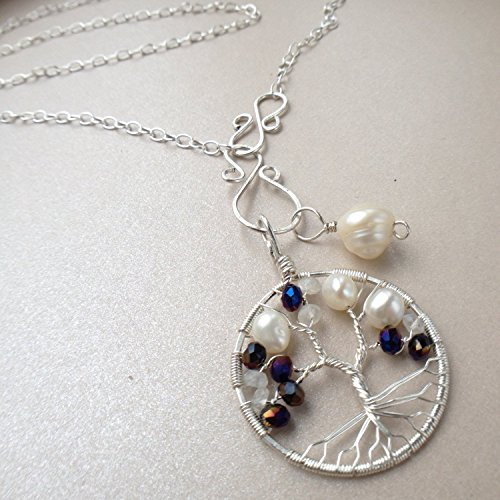 Tree-of-Life Charm Alexandrite Freshwater Pearl Moonstone Necklace 3rd Anniversary S. Silver 30th