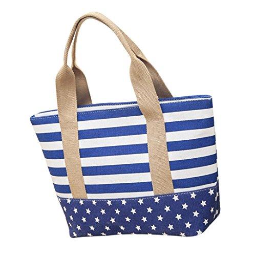 NXDA Girls Zipper Tote Striped Shoulder Messenger Canvas For Coffee Women Crossbody Bag and Handbags Blue Casual Bag Bags rCxZqtwr