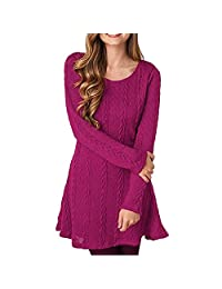 YINUOWEI Women Slim Fit Long Sleeves Stretchable Casual Knitted Sweater Dress