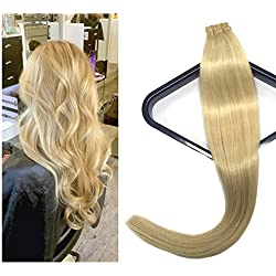 Mario Hair Tape in Human Hair Extensions Blonde Silky Straight Skin Weft Human Remy Hair (16 inches, #613)