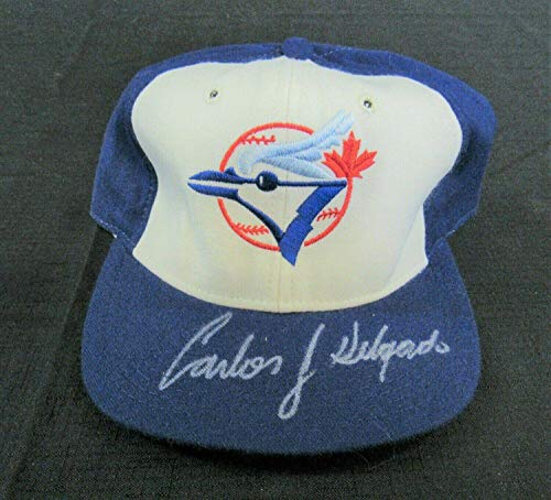 Carlos Delgado Signed Auto Autograph Blue Jays Fitted Baseball Cap Hat EE119 - JSA Certified - Autographed MLB Hats ()
