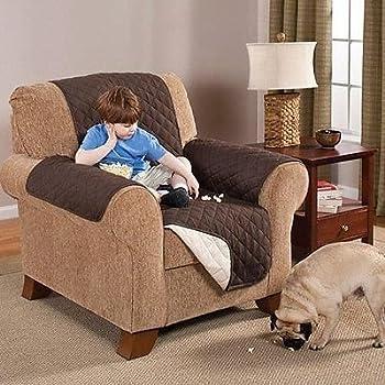 Elegante Luxurious Reversible RECLINER Furniture Protector, Coffee / Tan